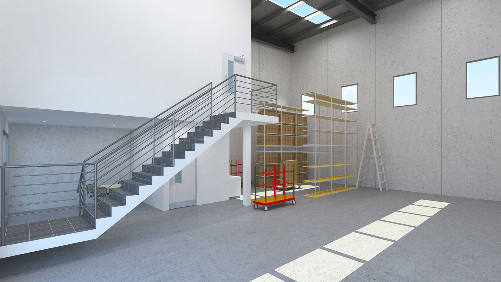 Easy loading bays; interior adjacent office access